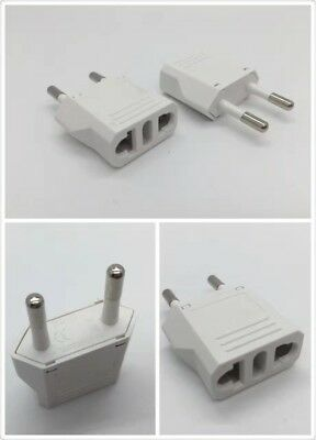 4x Reise Stecker Adapter US USA, AU, EU to EU Euro Europe, Weiß