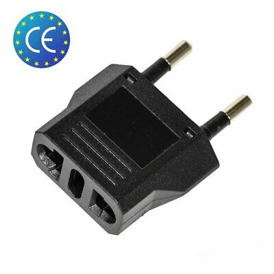 1x Reise Stecker Adapter US USA, AU, EU to EU Euro Europe, Schwarz