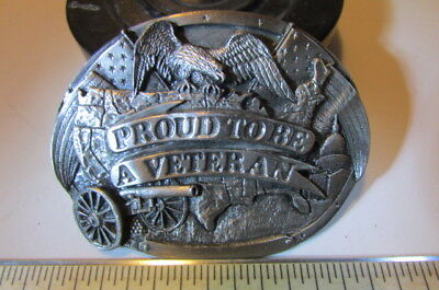 Vintage Belt Buckle Brass 1983 Bergamot Brass USA Works Proud To Be A Veteran