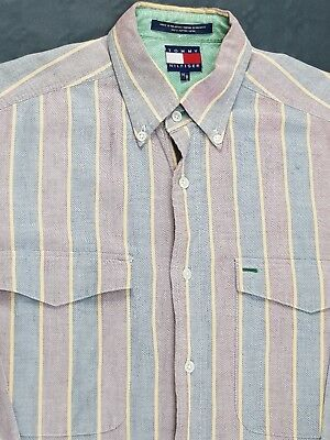 CAMICIA TOMMY HILFIGER 90's Oxford Shirt a Righe Multi Color Taglia M Uomo
