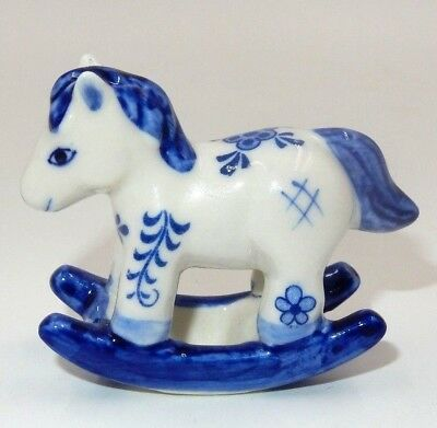 """Delft Hand Painted Blue & White Rocking Horse 2"""" Ornament"""