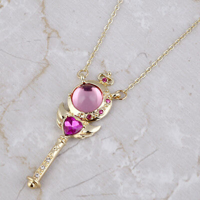 Anime Sailor Moon Truncheon Pendant Necklace Loving Heart Charm Women Jewelry