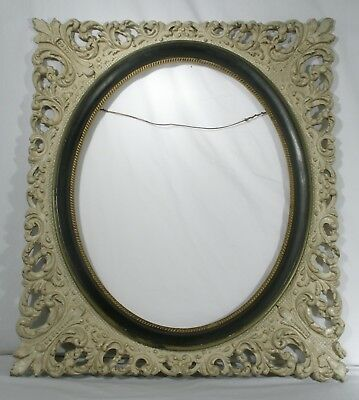 Antique Victorian oval picture painting frame ornate antique white