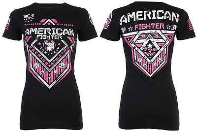 AMERICAN FIGHTER Womens T-Shirt NORTH DAKOTA Athletic BLACK PINK Biker UFC $40