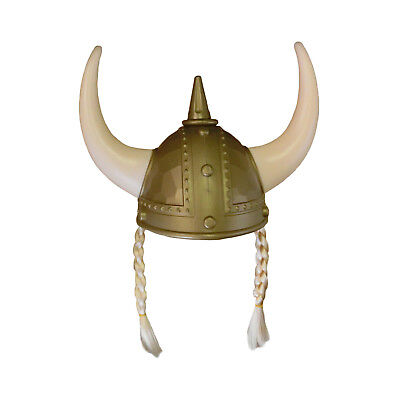 Adult Nordic Viking Helmet With Horns Braids Barbarian Warrior Costume Accessory