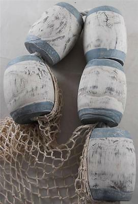 Set of Wood Buoys & Fish Net Nautical Beach Seaside Pool Patio Restaurant Decor