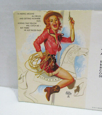 Earl Moran Pin-Up Art On Vintage Ink Blotter Cowgirl On Carousel Horse Crowder