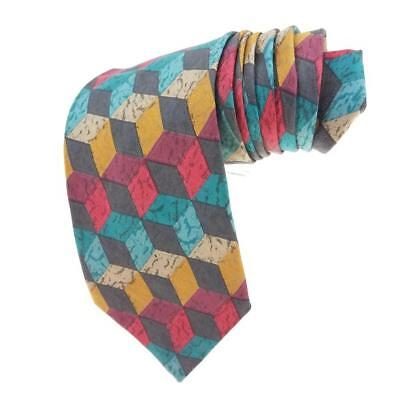 "Hugo Boss Tie Necktie 100% Silk Made in Italy Multi Color Geometric 59""L"