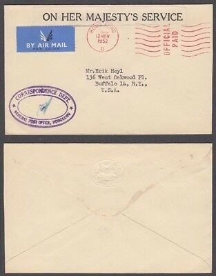 Hong Kong 1952 Ohms Airmail Cover To Usa (Id:609/d51090)