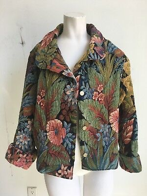Womens Vintage Floral Brocade Tapestry Coat
