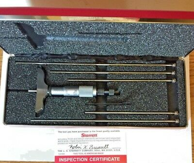 "Starrett No. 440 Depth Micrometer, 0"" - 6"" with ratchet/lock, 2 1/2"" base"