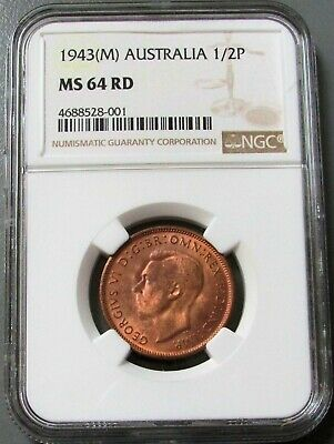 1943 (M) Australia Half Penny King George Vi Coin Ngc Mint State 64 Red