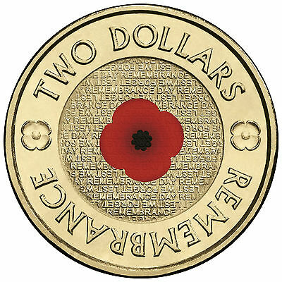 1 x Uncirculated 2012 Red Poppy Remembrance Day 2 Dollar Coin RAM Unc