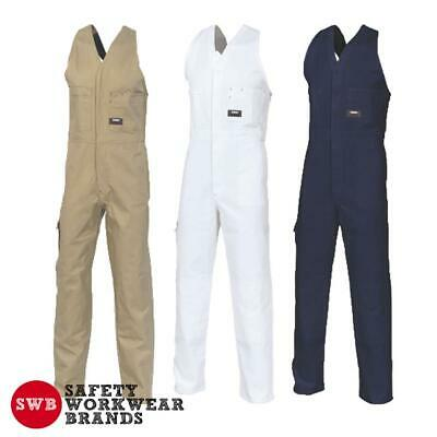 DNC Workwear Cotton Drill Action Back Overall Heavyweight Khaki White Navy 3121
