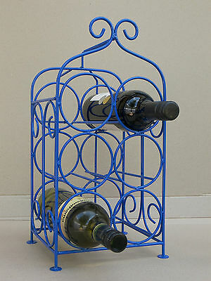 WINE RACK - 6 BOTTLE - WROUGHT IRON - French Blue -  Mother's Day Gift