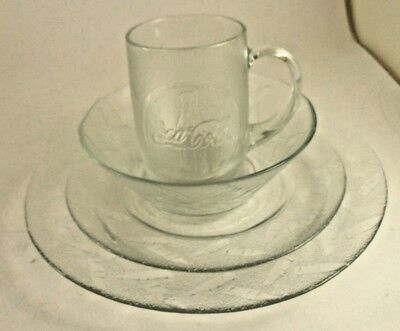4 Piece Place Setting 90's Durand Clear Glass Coca Cola Dishes