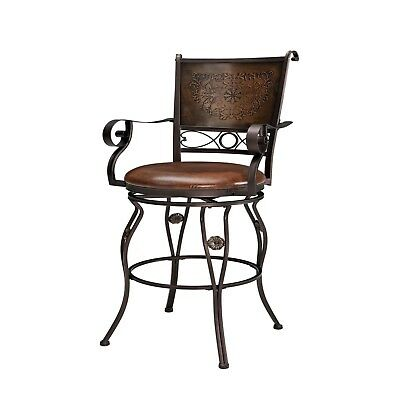Brown Antique Metal Barstool Home Bar Kitchen Island High Back Stool W Arms New