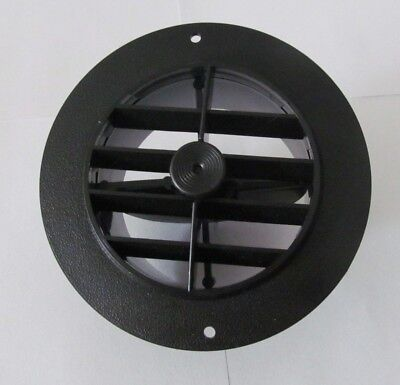 "4"" BLACK Round Rotaire Grille Damper Heat AC Outlet Register Vent 3840RWH RV"
