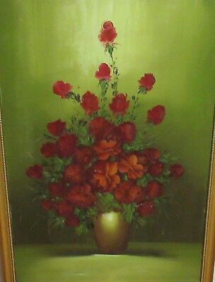 Roy Pasanault Huge Original Oil On Canvas Red Floral Vase Painting