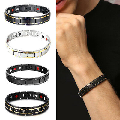Fashion Titanium Steel Magnetic Therapy Energy Bracelet Men Health Care Gift