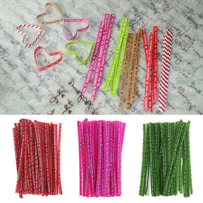 100x Colorful Kraft Twist Tie 8cm for Sweets Cone Cello Bag Party Decoration