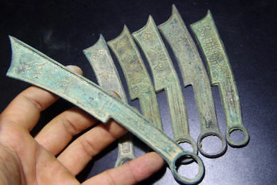 6pcs Chinese Bronze Knife shape Coin Old Dynasty Antique Currency Cash