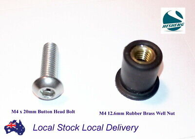 20 x M4 12.6mm Rubber Brass Well Nut 20 x M4 20mm Button Head Stainless Bolt