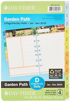DayTimer Garden Path Daily Planner Refill 2015, 5.5 x 8.5 Inches Page Size 13476