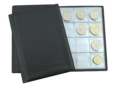 BLACK Album 96 COINS PERFECT for 50p or £1 COIN FOLDER BOOK POCKET COLLECTOR BL3