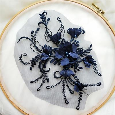 3D Flower Embroidery Beads Lace Applique Patch Handmade DIY Wedding Dress 1 PC