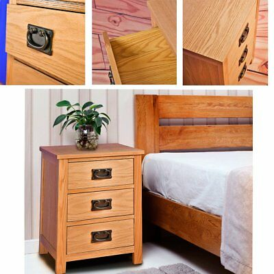 New Solid Oak Bedside Table With Chest Of 3 Drawer Storage Cabinet Nightstand