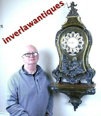 Huge 18th Century Louis XIV Boulle Bracket Clock LeRoy Paris 118cm