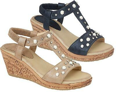 Ladies Womens Sandals Elasticated Jewel Halter Back Wedge Shoes Size