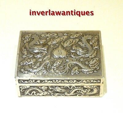 Chinese Silver Cigarette Box, Cedar Lined, Qing Dynasty.