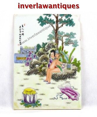 Chinese Erotic Painting Porcelain Tile Late Qing Dynasty
