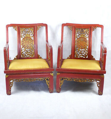 Beautiful Pair Chinese Qing Dynastry Red Lacquer Chairs