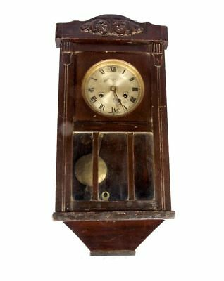 Wooden Art Collectible Old Antique Vintage Polished Pendulum Wall Clock HB 05