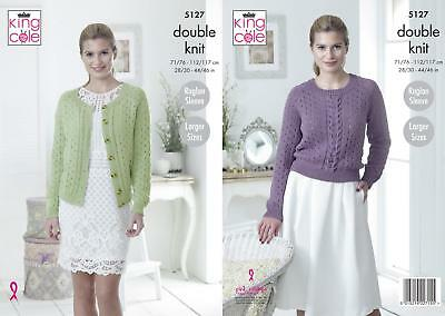 KNITTING PATTERN Ladies Eyelet /& Cable Cardigan /&Jumper Cotton DK King Cole 5127
