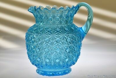 ca. 1880s FASHION by Bryce Bros. BLUE Handled Water Pitcher