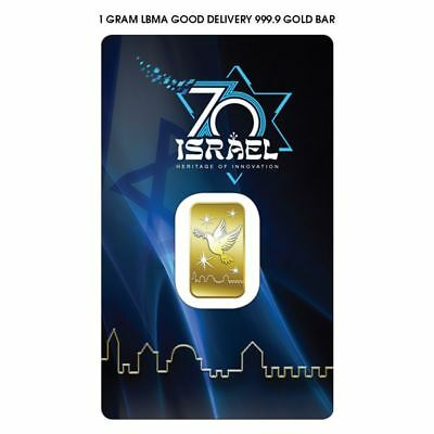 Special Edition!!! 1 Gram Pure Gold Bar 999.9  - ISRAEL'S 70th ANNIVERSARY Card