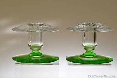 1920s # 12928 Candlesticks by Sinclaire CLEAR & ELFIN GREEN Rose Engraving