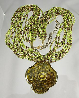 "Green & Bronze Brown Glass Seed Beads 9 Strand Necklace Pendant 17"" plus   #233"