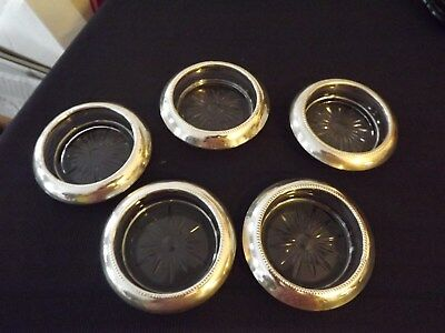 SET OF 5 Vintage STERLING SILVER Glass COASTERS  by Frank M. Whiting & Co.