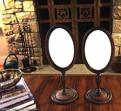 PAIR Old or Antique Wood Oval Dresser Table Mirrors ~ Victorian Edwardian