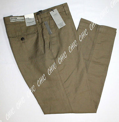 M&S Mens Premium Linen Cotton Blend Flat Front Tailored Fit Chino Trousers Pants