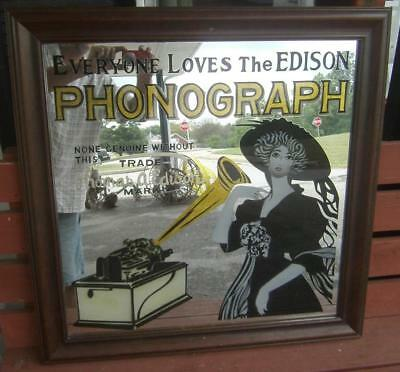 Thomas A Edison Cylinder Phonograph Advertising Mirror Store Display Music