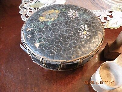 ANTIQUE ASIAN BAMBOO HAND WOVEN RICE BUCKET BASKET & LID HAND PAINTED Pansies