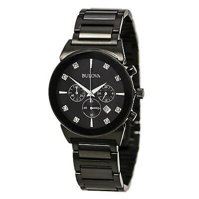 Bulova 98D123 Gents Black Dial Black IP Steel Chrono Diamond Watch