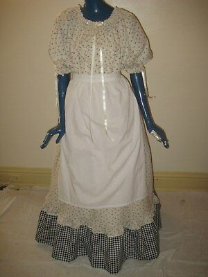 M - XL Pioneer Colonial Prairie Frontier Trek Country Cotton Dress Apron Women