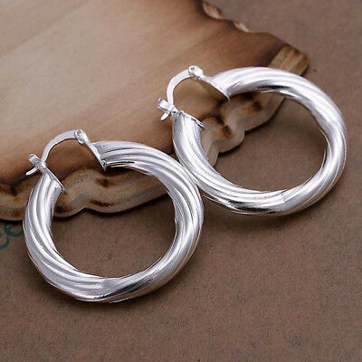 Womens 925 Sterling Silver Classic 40mm Round Vogue Hoop Pierced Earrings #E173